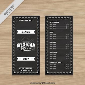 Black vintage mexican restaurant menu