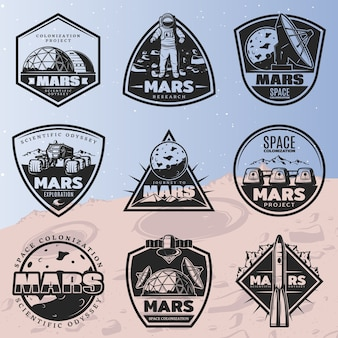 Black vintage space discovery labels set with inscriptions