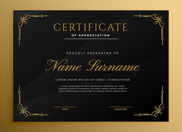 Black vintage style certificate template with golden details
