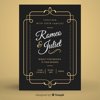 Black vintage wedding invitation template
