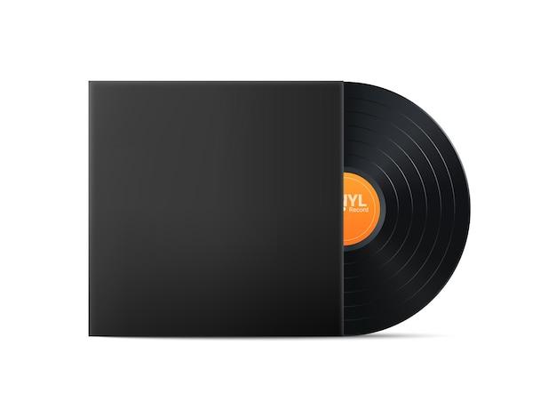 Черная виниловая пластинка. реалистичный старинный граммофонный диск с крышкой. ретро-дизайн. иллюстрация.