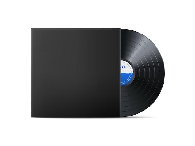 Черная виниловая пластинка. реалистичный старинный граммофонный диск с крышкой. ретро-дизайн.