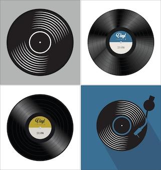 黒のビニールレコードディスクフラットコンセプトの背景