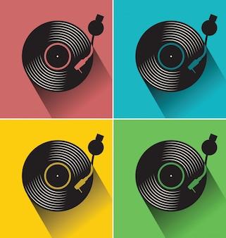 Черный винил диск диск плоской концепции векторной иллюстрации