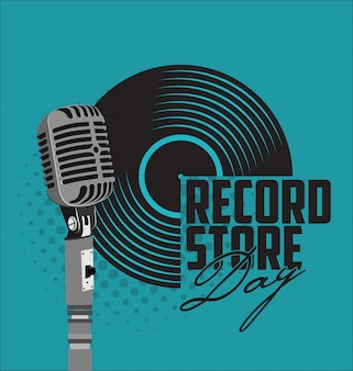 Black vinyl record store day flat concept
