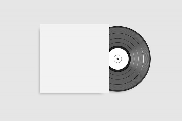 Black vinyl record with blank white cover