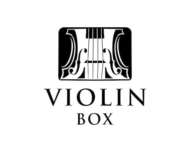 상자 로고 바이올린 음악 로고 디자인 서식 파일에 검은 바이올린