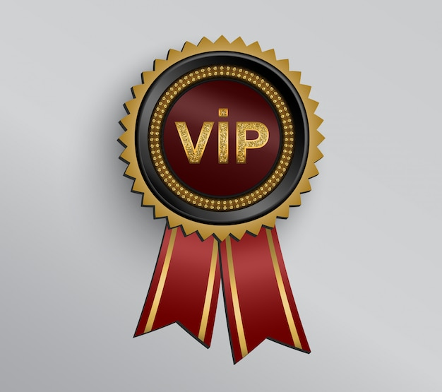 Black vip badge with red ribbons