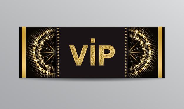 金色の丸いシンボルときらびやかなvipレタリングが付いた黒いvipチケット。
