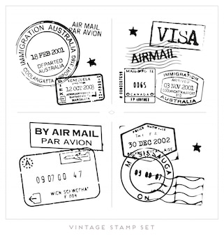 Black visa stamp collection