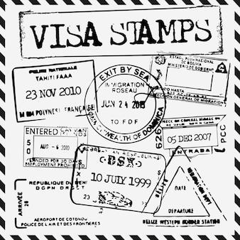 Black visa stamps
