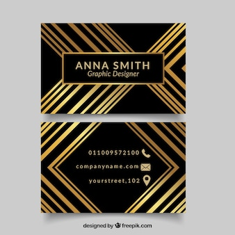 Black visiting card with golden forms