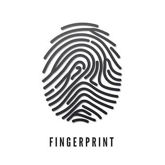 Black volume fingerprint whit shadow isolated on white background