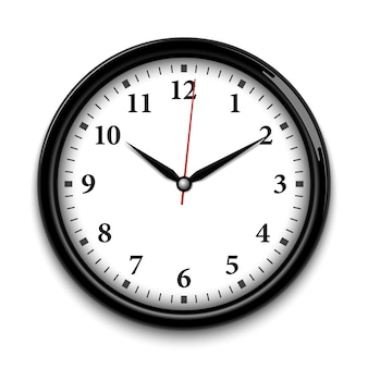 Black wall clock isolated on white background