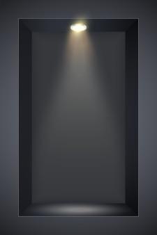 Black wall niche with spotlight