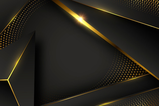 Black wallpaper with shapes and golden elements