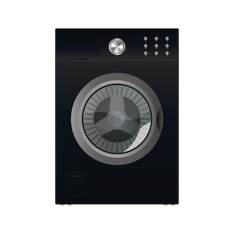 Black washing machine isolated on a white background. realistic vector washing machine.