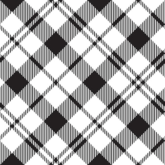 Black watch milytary tartan diagonal seamless pattern black and white