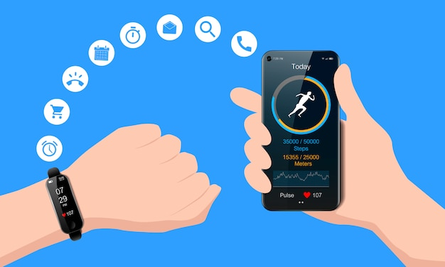 Black watch on your hand and smart phone, mobile fitness app with running tracker and heart rate meter, healthy lifestyle concept, realistic