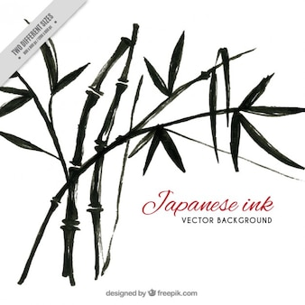 Black watercolor bamboo