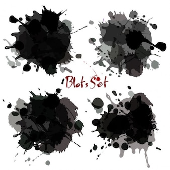 Black watercolor blot set