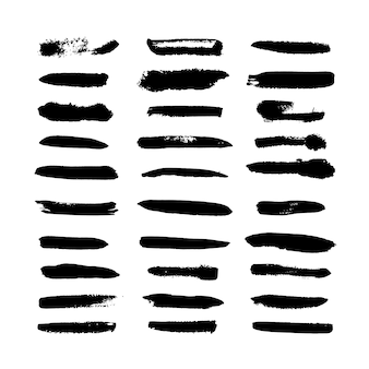 分離された黒の水彩筆ストロークコレクション