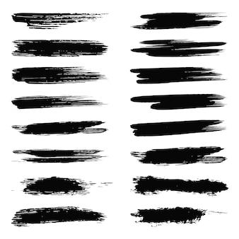 黒の水彩ブラシストロークテクスチャセットデザイン