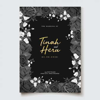 Black watercolor floral invitation theme