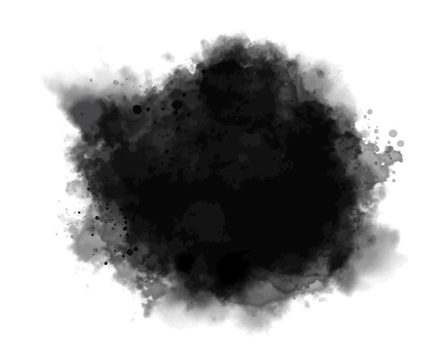 白い背景のベクトル図に黒い水彩画