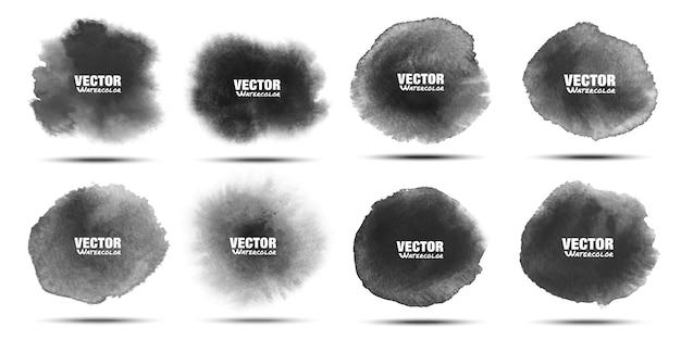 黒の水彩ステインセット。アクワレルの濃い灰色の斑点。円形の水彩画の染み。
