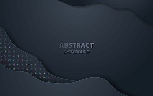 Black wave abstract realistic decoration