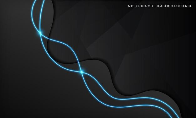黒い波の抽象的な技術の背景は、青い光のネオン効果で暗い空間のレイヤーをオーバーラップします