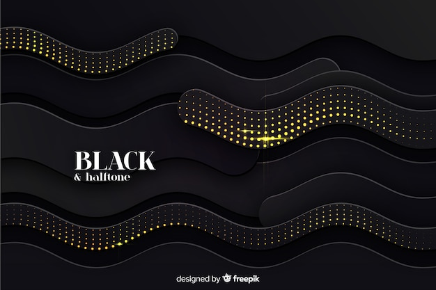 Black waves background halftone effect