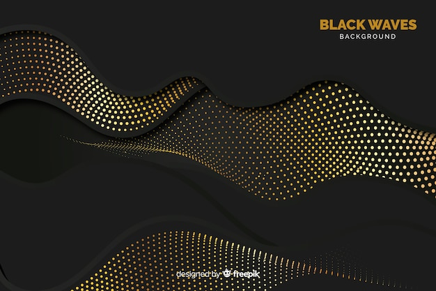 Black waves background with halftone effect