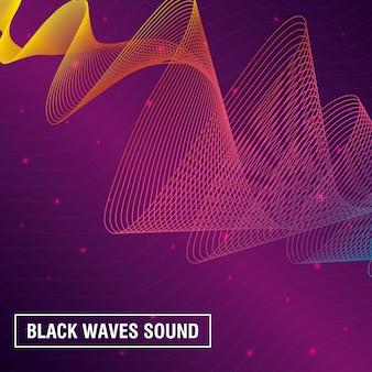Черные волны звучат на розовом фоне
