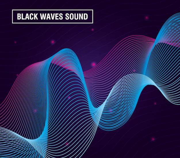 Черные волны звучат на фиолетовом фоне