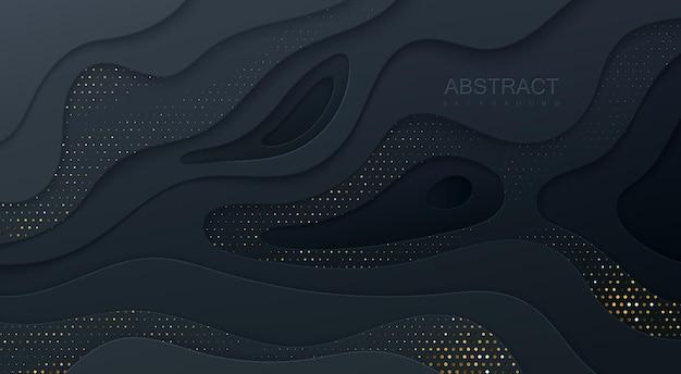 黒の波状紙カット背景