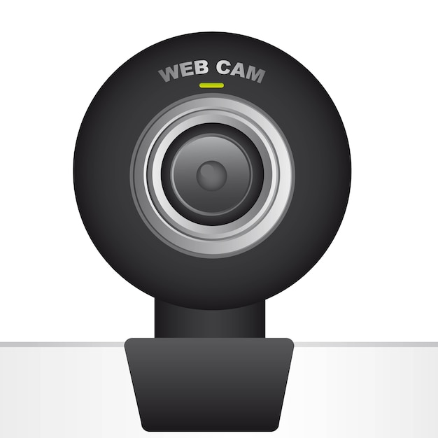 Black web cam over white background vector