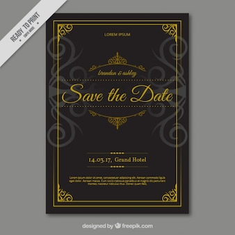 Black wedding card with decorated with ornaments