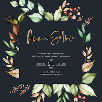 Black wedding invitation template with watercolor floral leaves