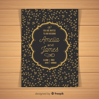 Black wedding invitation template