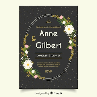 Black wedding invitation with flat design template