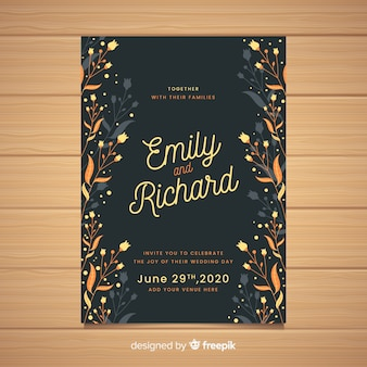 Black wedding invitation with floral frame