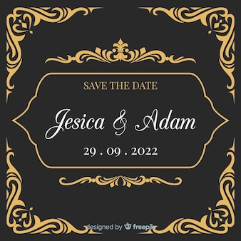 Black wedding invitation with golden ornaments