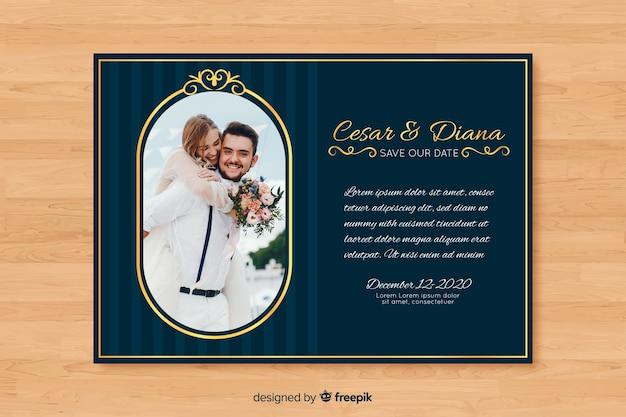 Black wedding invitation with photo