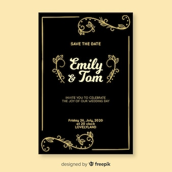 Black wedding invitation with retro template