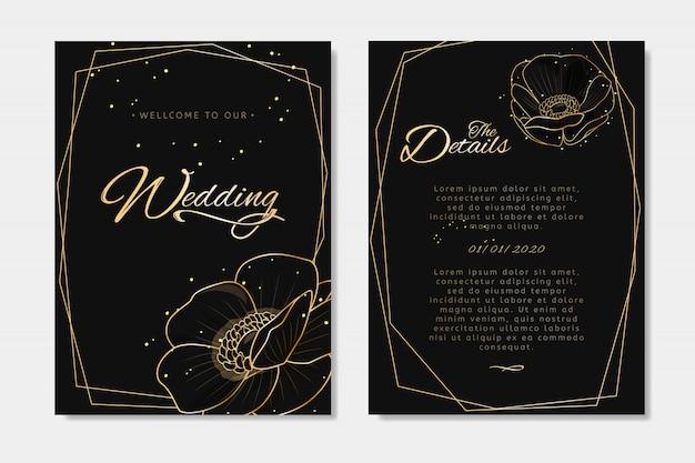 黒の結婚式の招待状。