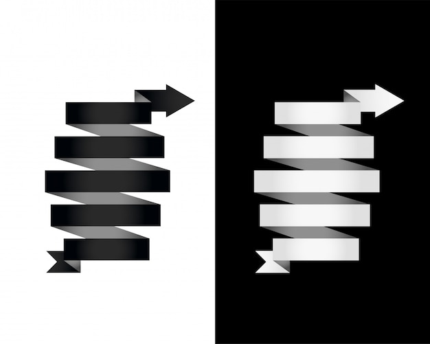 Black and white 3d banner ribbon arrow