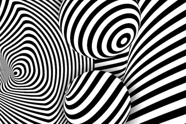 ブラックホワイト3dラインディストーションイリュージョンデザイン幾何学的なストリップパターンイラストアート