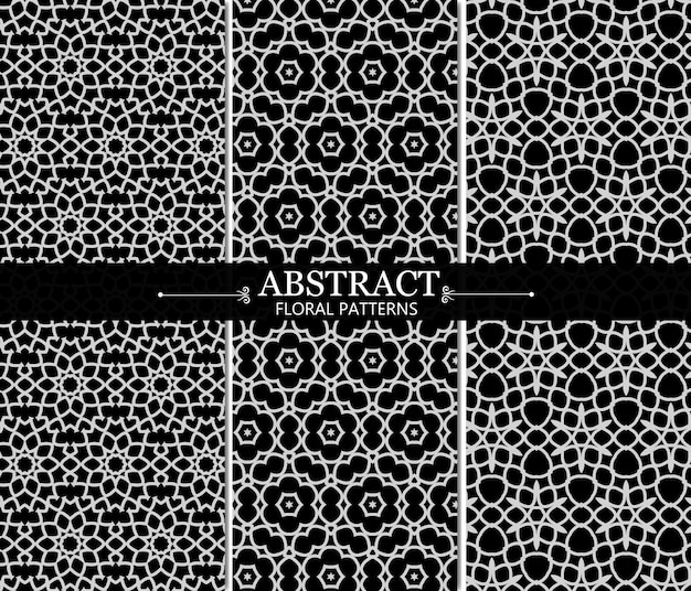 Black and white abstract floral pattern collection